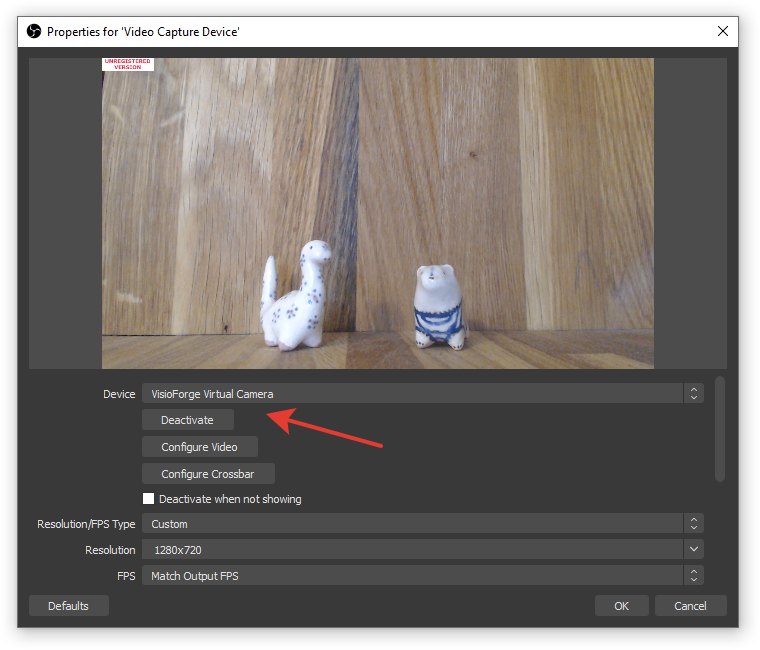 OBS video capture source